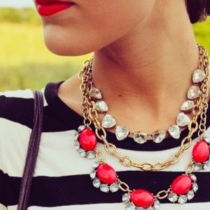 Stella & Dot Red Jeweled Gold Statement Necklace